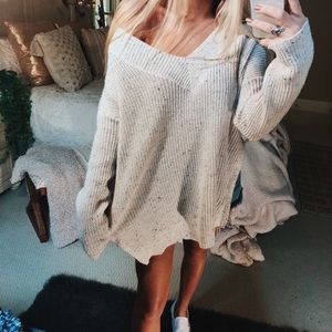 Sweaters - cream speckled slouchy knit